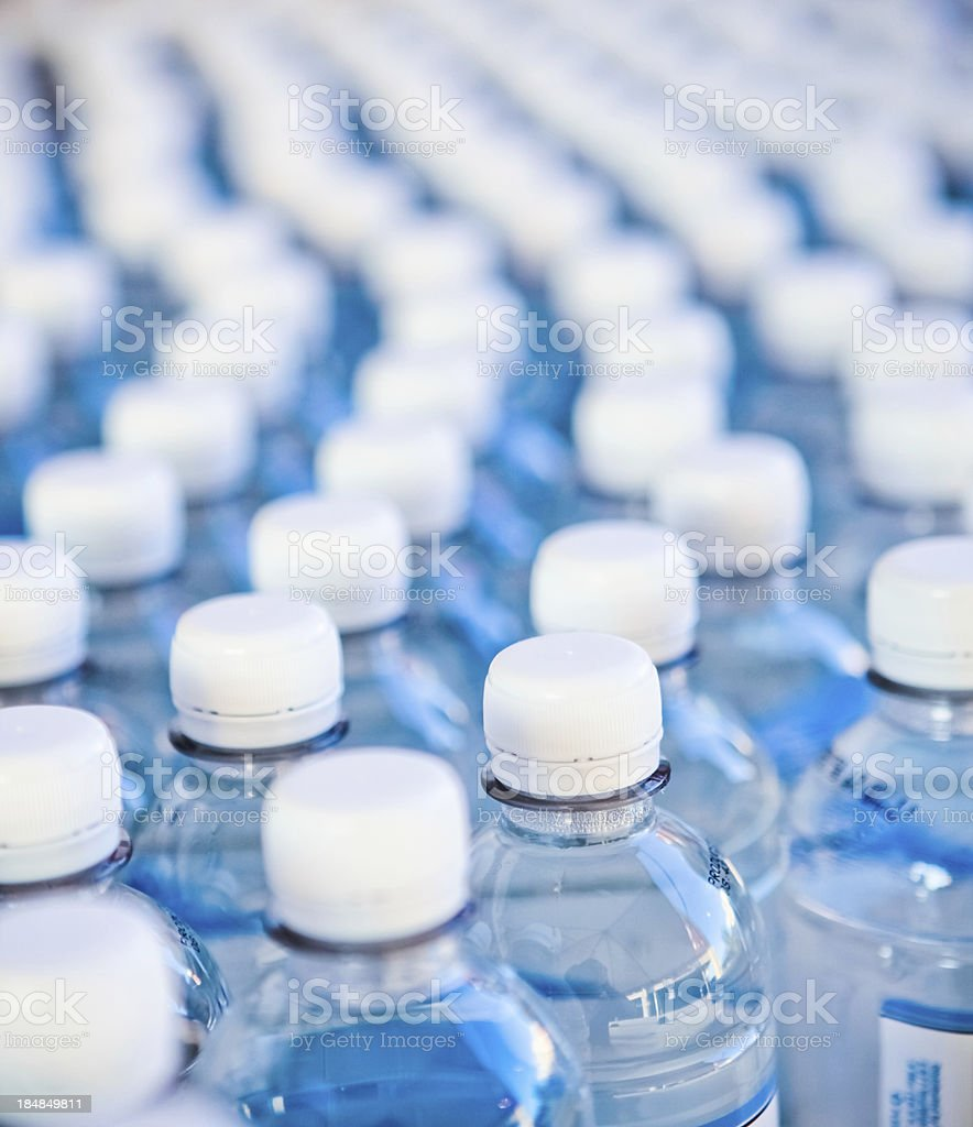 Water bottles bottling plant stock photo