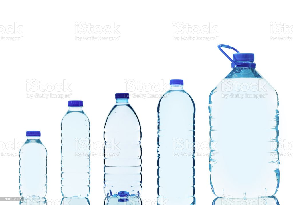 Water bottles isolated on white background stock photo