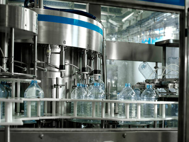 water bottling factory stock photo