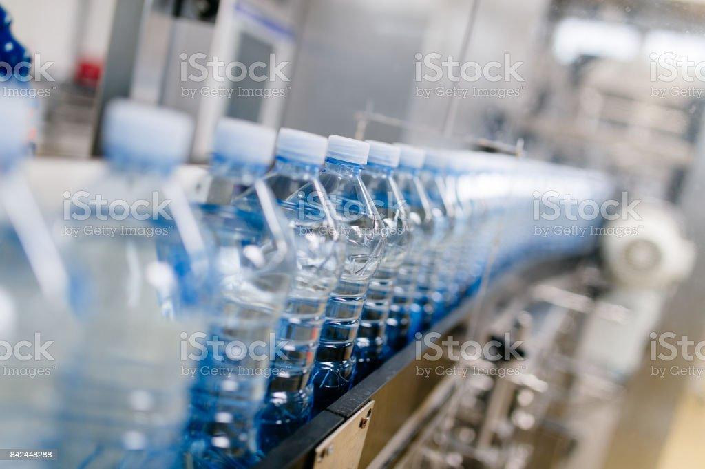 Water bottling factory stock photo