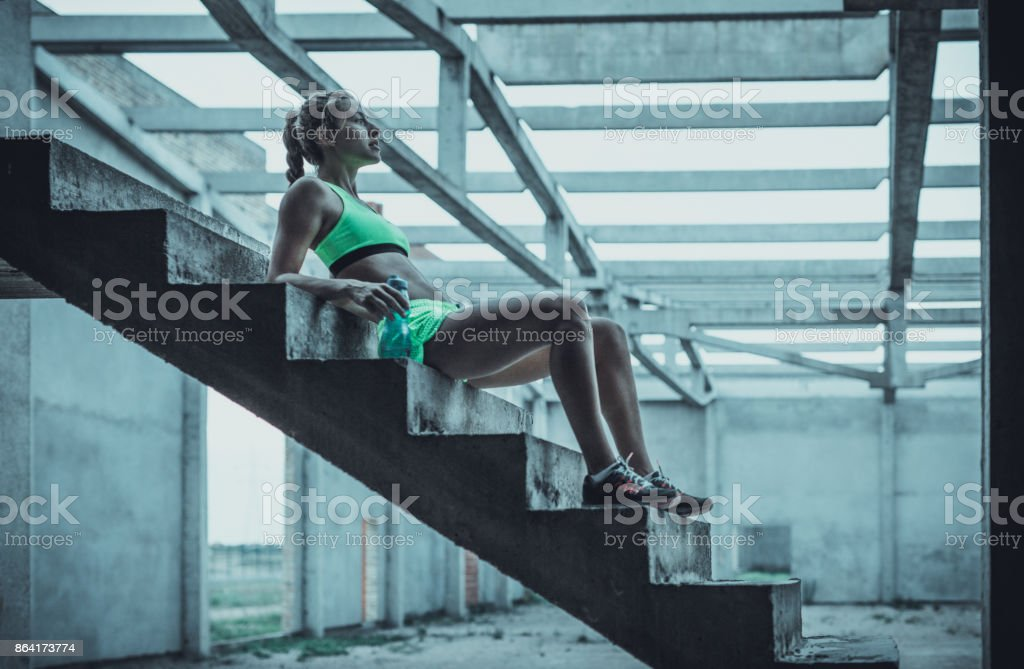 Water break on staircase in an old ruin! royalty-free stock photo