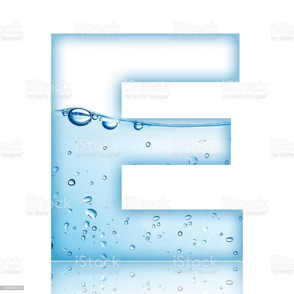 Water Bubble Letter E stock photo