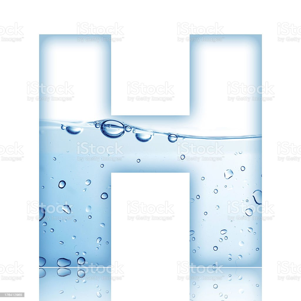 Water Bubble Letter H stock photo