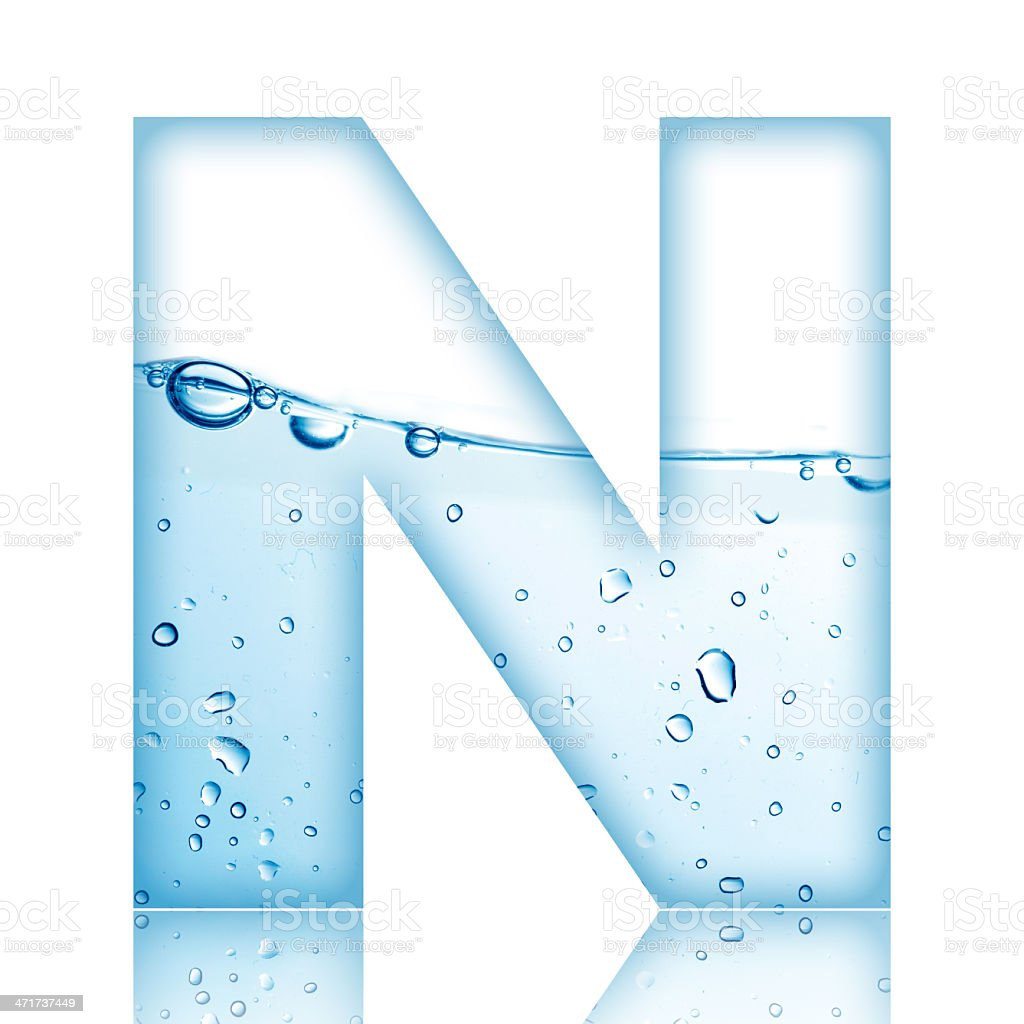 Water Bubble Letter N stock photo