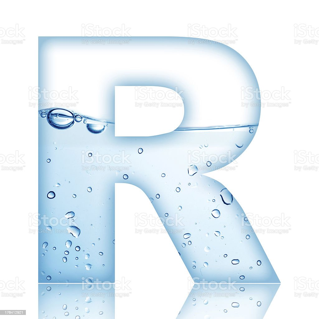 Water Bubble Letter R stock photo