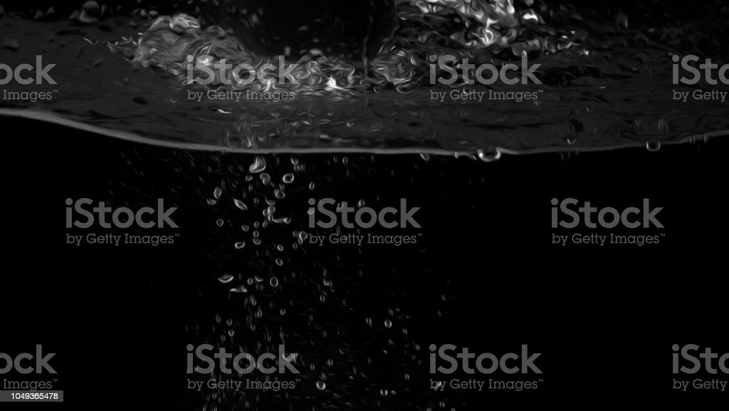 Water bubbles floating on black background with oil paint effect which represent refreshing of refreshment from soda stock photo