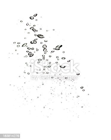 istock Water bubbles on clear white background 183814276