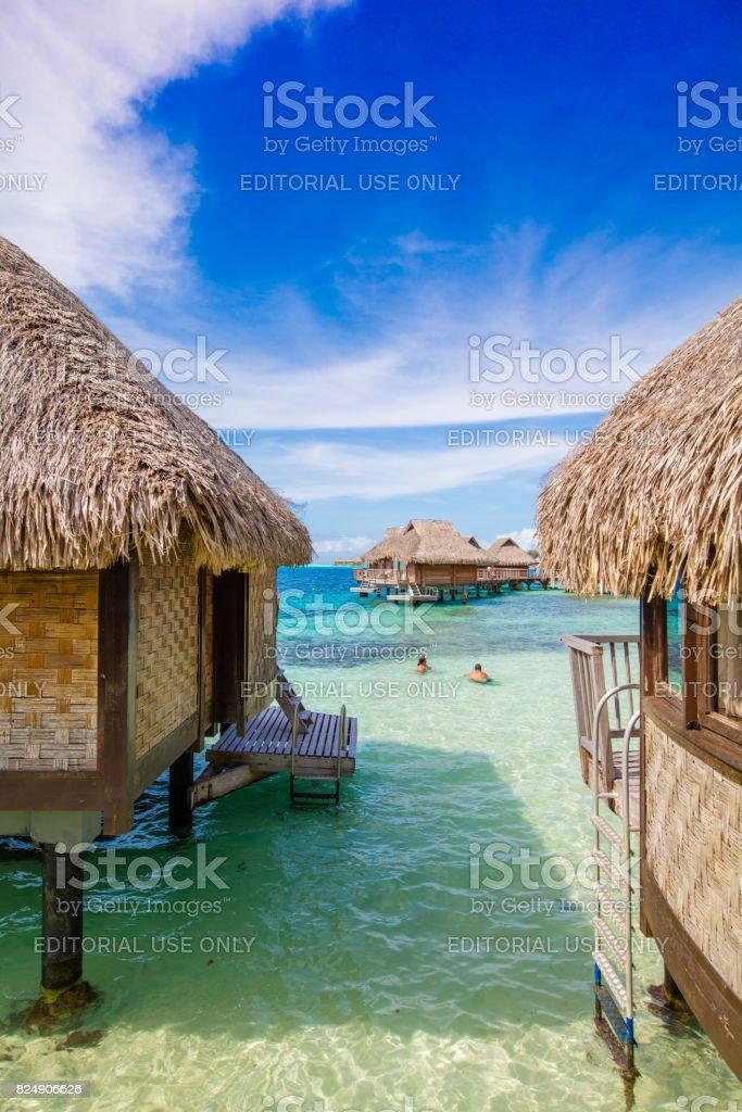Water bungalows on Bora Bora, French Polynesia stock photo