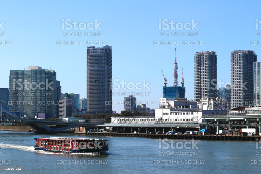 A water bus cruising the River stock photo