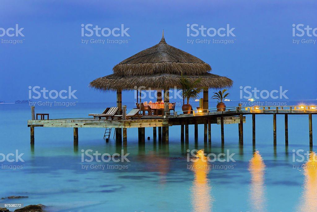 Water cafe at evening royalty-free stock photo