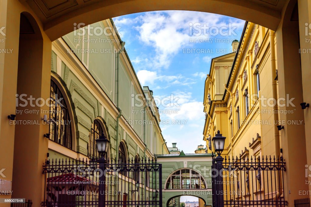 Water canal and arch of Hermitage Museum in Saint Petersburg, Russia. stock photo
