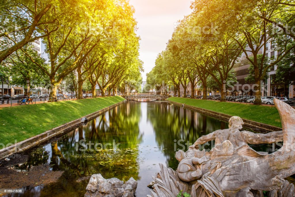 Water canal in Dusseldorf city stock photo