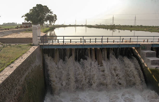 water canal with power production stock photo