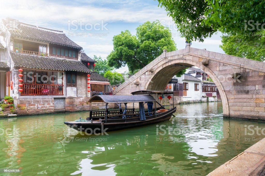 Water canals and gondolas in the ancient watertown of Tongli, China stock photo