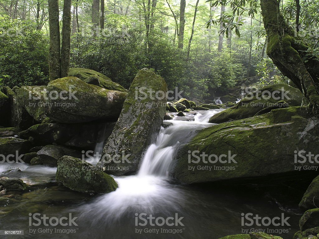 water cascade at Middle Prong Creek stock photo