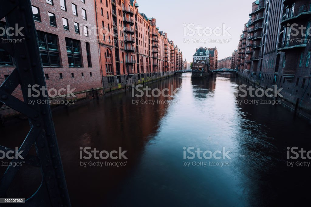 Water castle in old Speicherstadt or Warehouse district, Hamburg, Germany zbiór zdjęć royalty-free