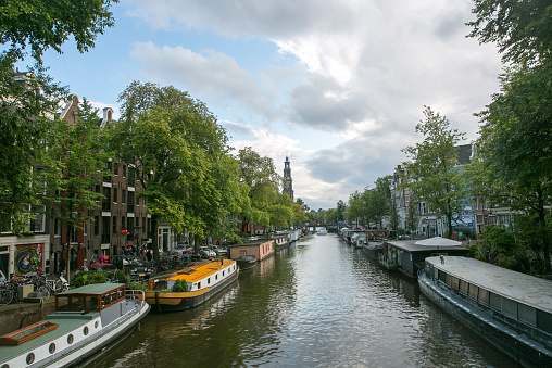 amsterdam, netherland - August 17, 2014: water house boats are located at channels in amsterdam holland netherland