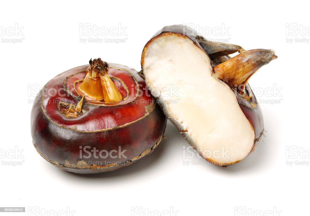Water chestnuts on a white background stock photo
