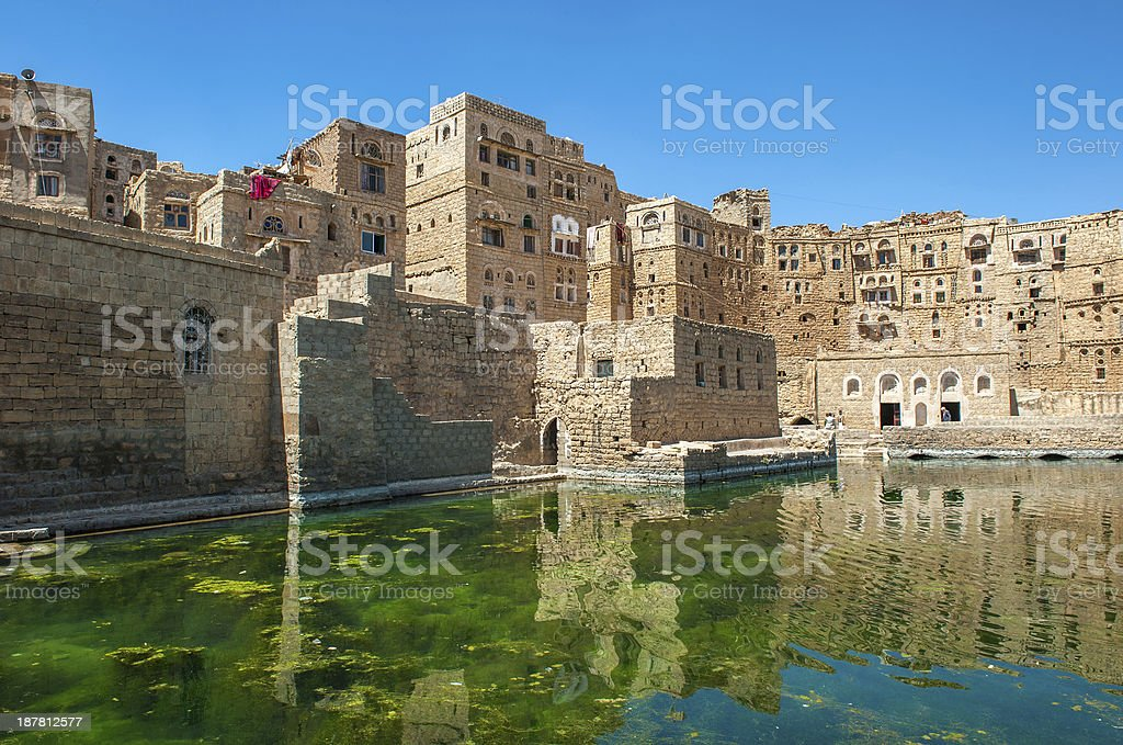 Water cistern at Hababah traditional village, Yemen stock photo