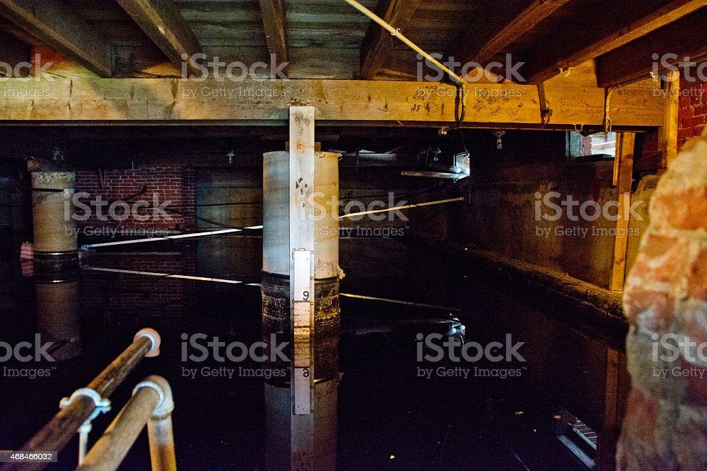 Water cistern in basement stock photo