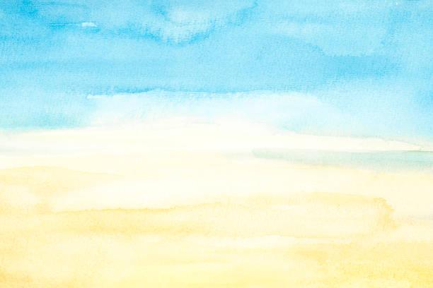 vatten färg bakgrunden - blue yellow bildbanksfoton och bilder