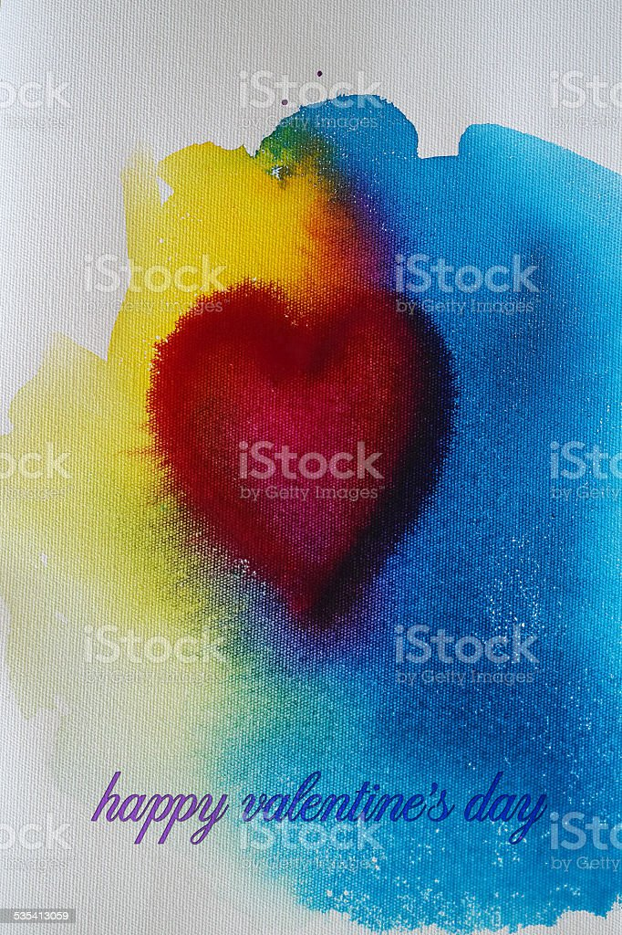 Water Color Heart for Valentine's Day stock photo
