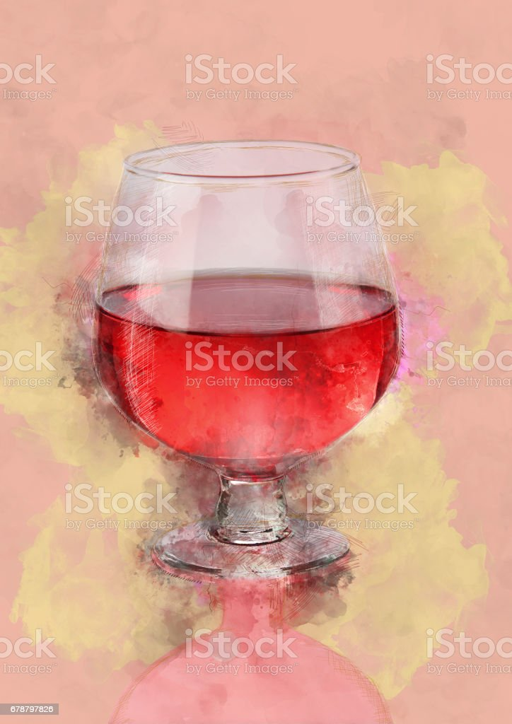 Water Color Painting of Red Wine Glass stock photo