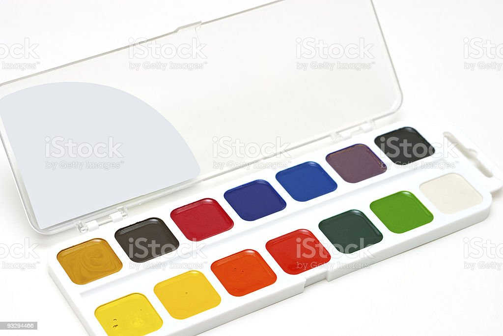 Water colour paints royalty-free stock photo