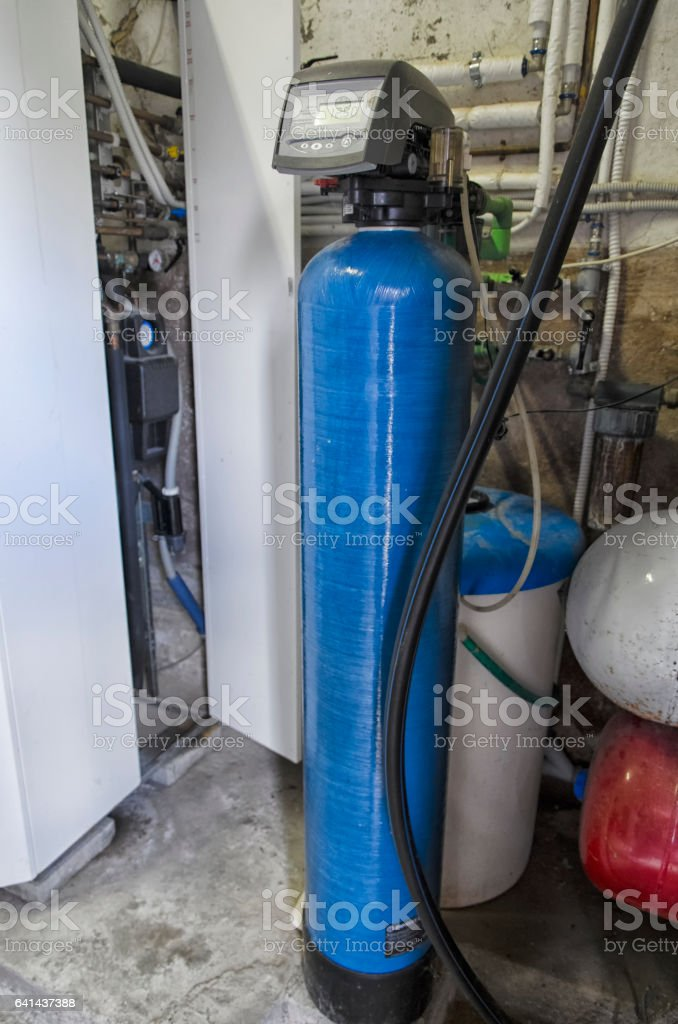 Water conditioner and condensing boiler stock photo