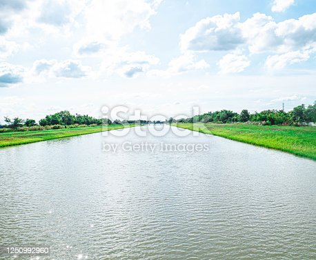 Water conveyance and distribution canals .An irrigation canal with a path running alongside it among green filed and blue sky. Beautiful landscape in Bang Len, Nakhon Pathom, Thailand
