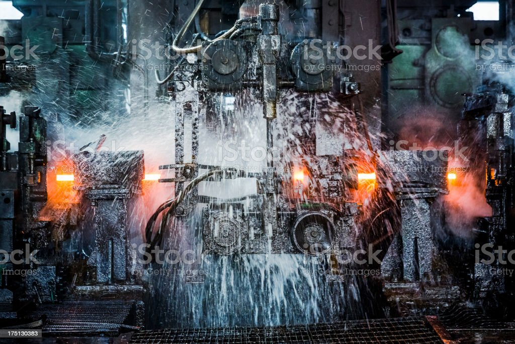 water cooling of roling mill line stock photo