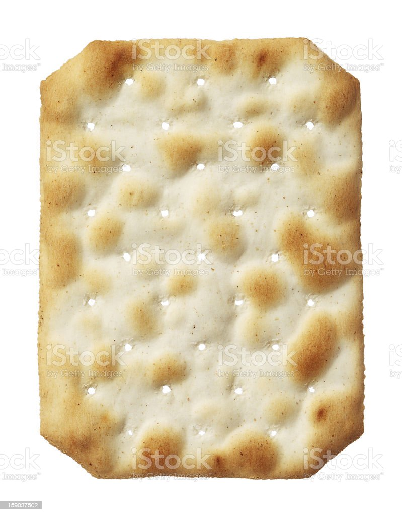 Water cracker isolated on white background, close-up royalty-free stock photo