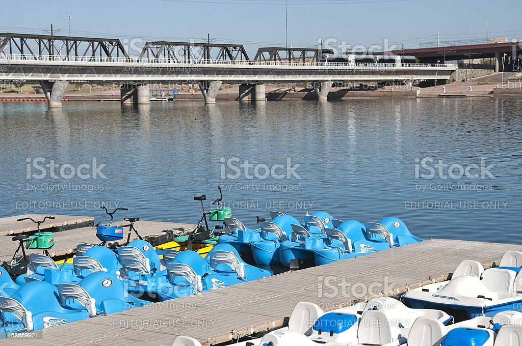 Water craft for rent on Tempe Town Lake in Arizona royalty-free stock photo