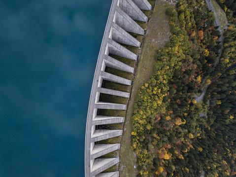 water dam aerial view
