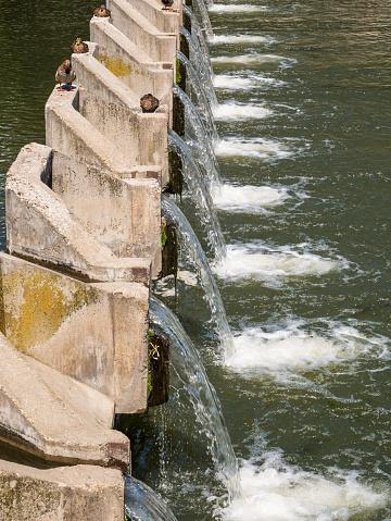 Water dam on Dambovita river in Bucharest, Romania.