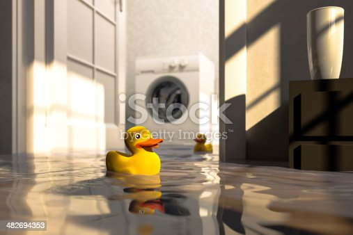 Residential water damage caused by defective washing machine. Shallow depth of field Cg-image.