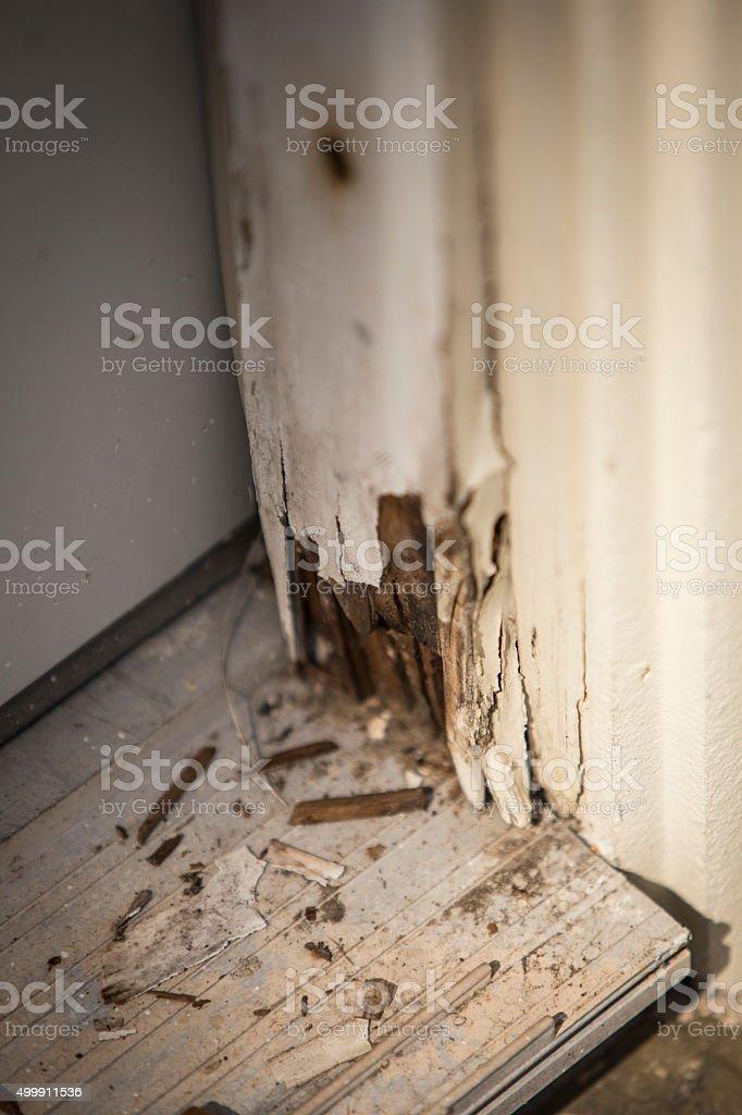 Water Damage on Door Panel stock photo