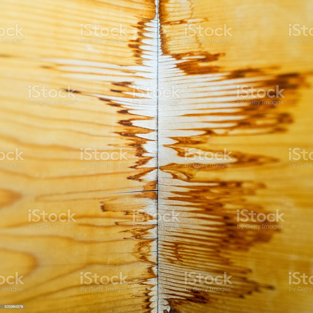 Water damage to wooden wall stock photo