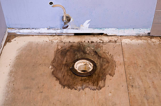 water damaged floor stock photo