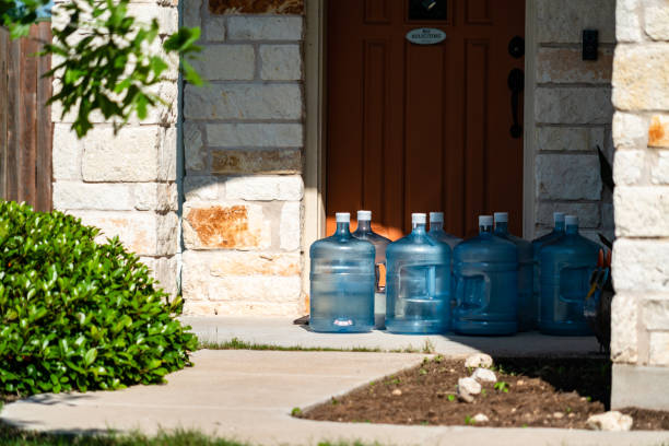 Water Delivery Service during Covid-19 Lockdown stock photo