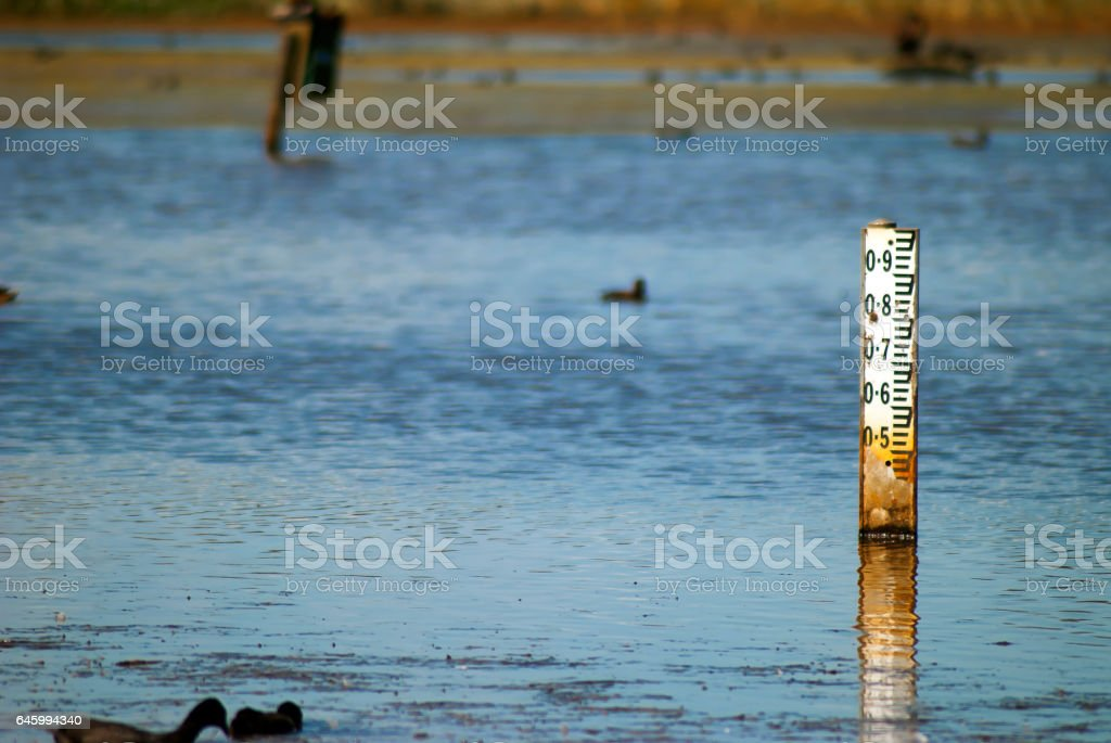 water depth indicator stock photo