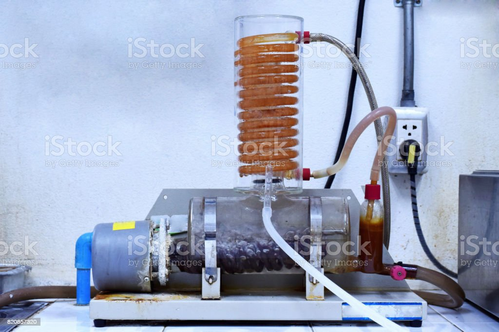 Water Distill Deionizer to change dirty water to clean and clear water with distilled water stock photo