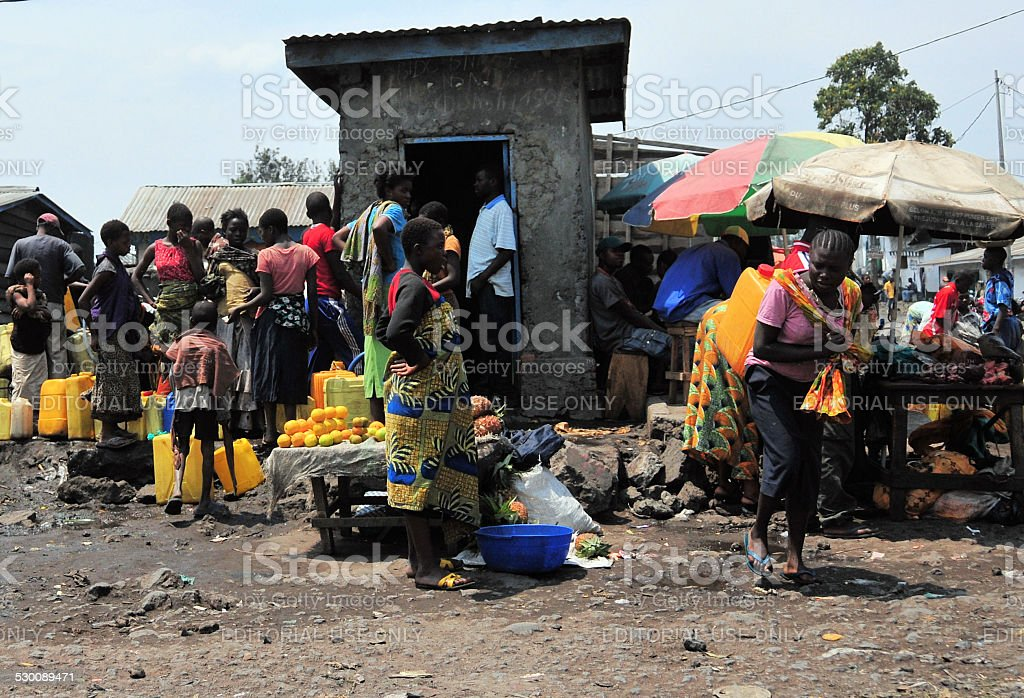 Water distribution in Africa stock photo