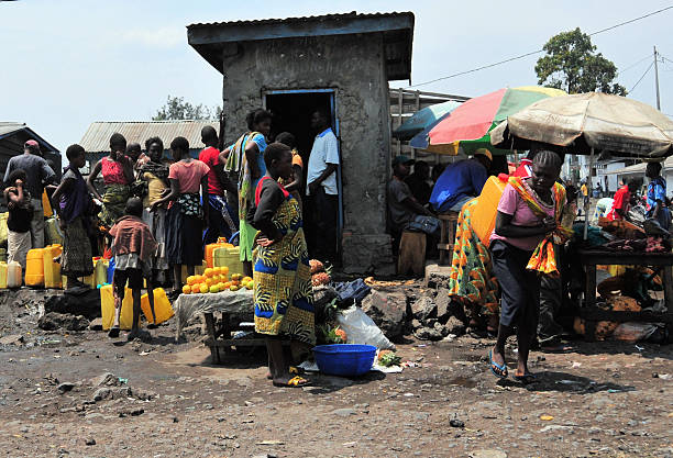 water distribution in africa - democratic republic of the congo stock photos and pictures