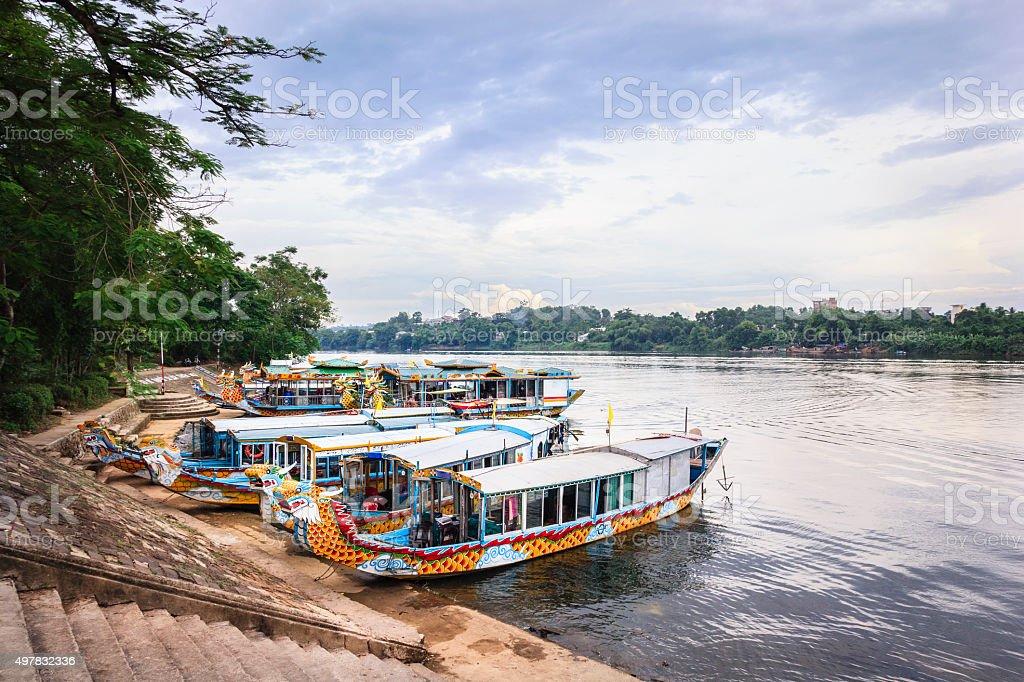 Water dragons of Huong River, Hue, Vietnam stock photo