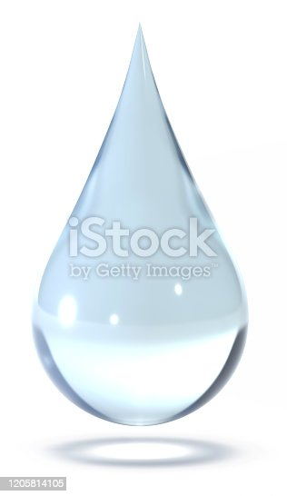 water, drop, 3d, isolated