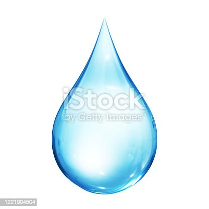 Water drop isolated on the white background. 3D Render