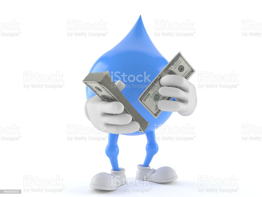 Water drop character counting money stock photo