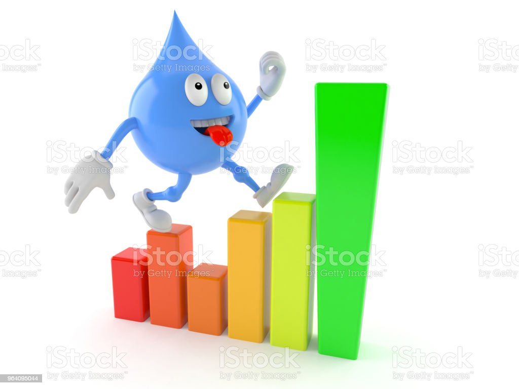 Water drop character with chart - Royalty-free Achievement Stock Photo