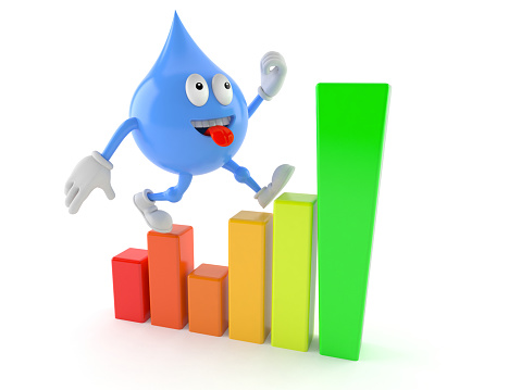 Water Drop Character With Chart Stock Photo - Download Image Now